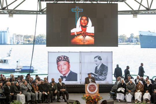 The Honorable Minister Louis Farrakhan gives a brief tribute to the late Aretha Franklin during the celebration of  the 23rd anniversary of the Million Man March and the Holy Day of Atonement at Chene Park, soon to be named the Aretha Franklin Amphitheater, in Detroit, Mich., Sunday, Oct 14, 2018.