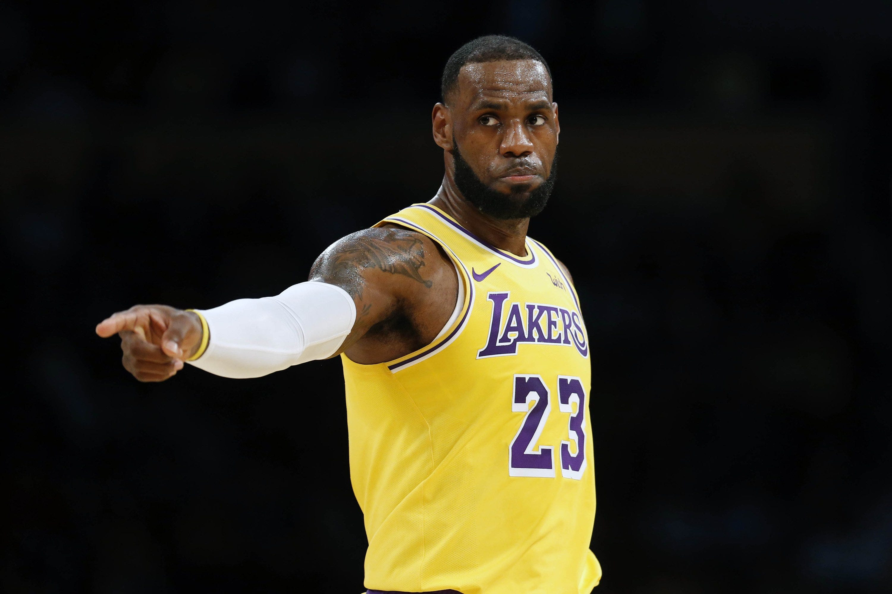 LeBron James wears the purple and gold of the L.A. Lakers this season.