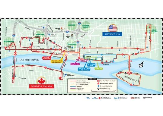 The 2018 Detroit Free Press/Chemical Bank Marathon map.