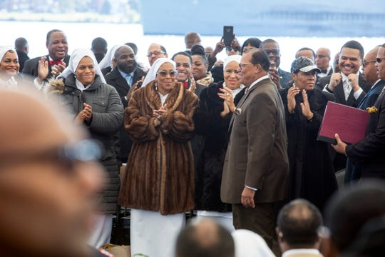 The Honorable Minister Louis Farrakhan takes the stage on the 23rd anniversary of the Million Man March and the Holy Day of Atonement at Chene Park, soon to be named the Aretha Franklin Amphitheater, Detroit, Mich., Sunday, Oct 14, 2018.
