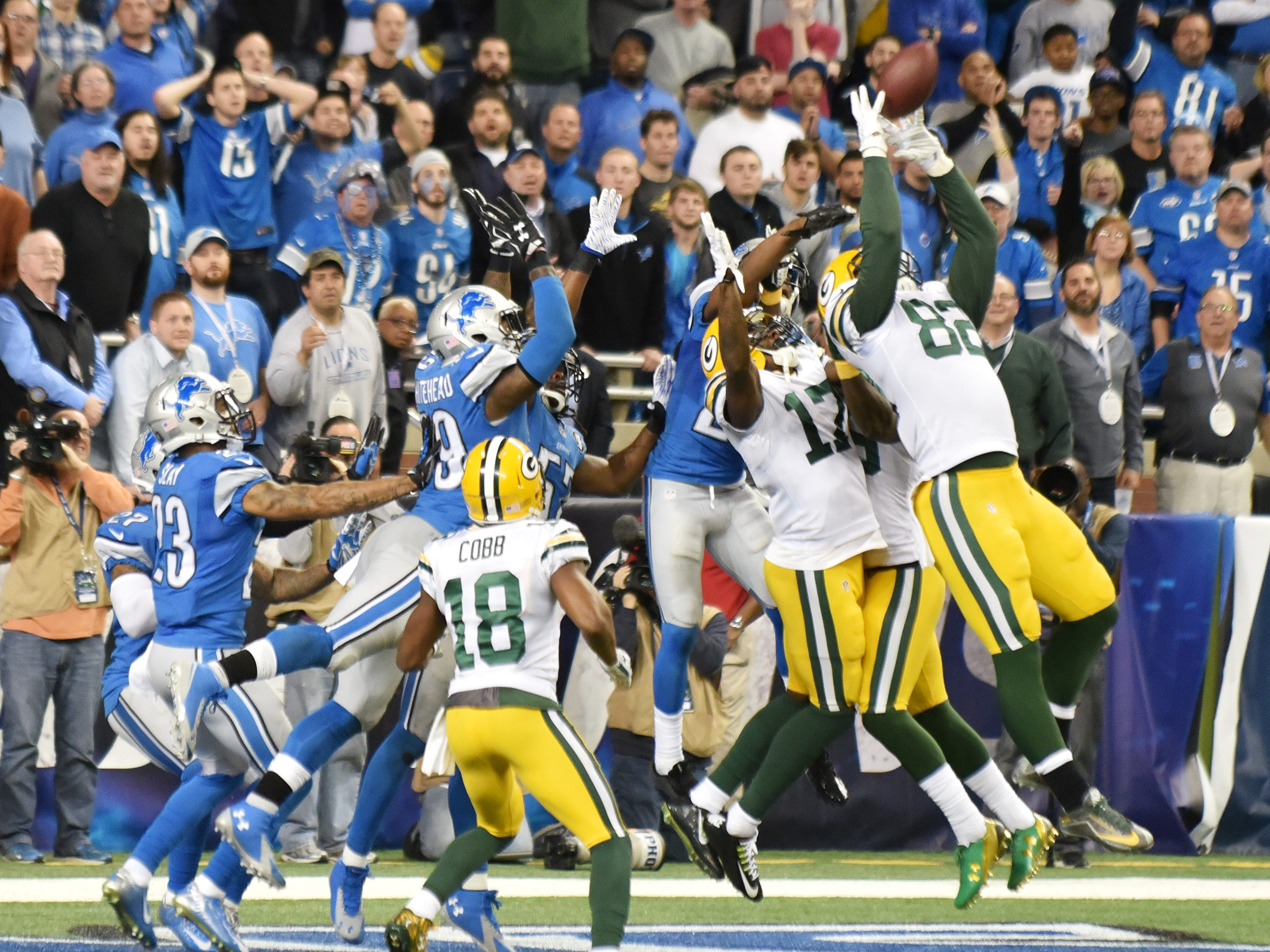 """LIONS-PACKERS: Having met twice a season since the early 1930s, there is no longer-running rivalry in the NFL than this one -- even though it's been a bit one-sided over the years (the last three games, notwithstanding). One of the most-memorable games came in 2015, when Aaron Rodgers' Hail Mary as time expired one it. It was dubbed the """"Miracle in Motown."""""""
