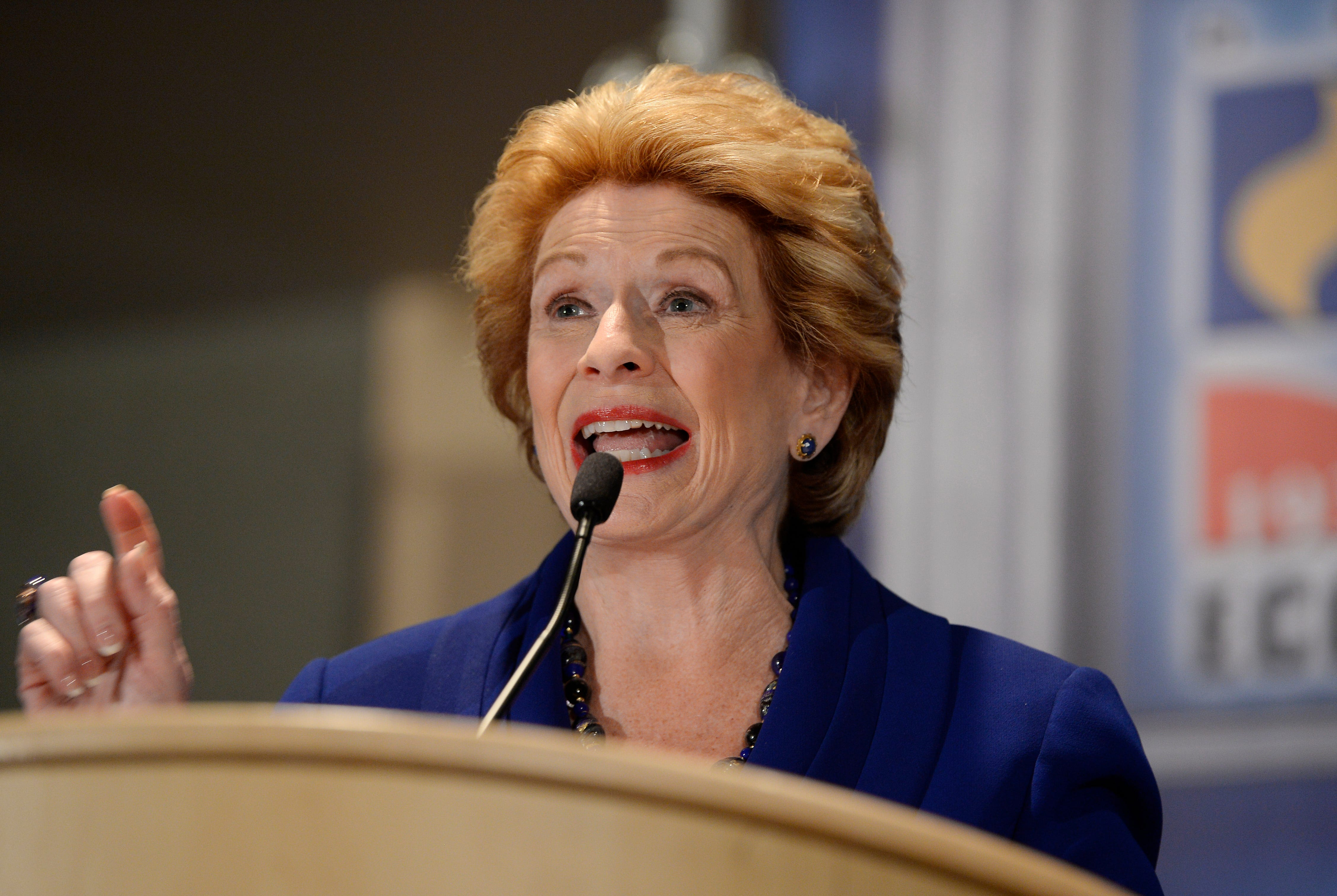 U.S. Sen. Debbie Stabenow answers a question during the debate Monday at the Detroit Economic Club.