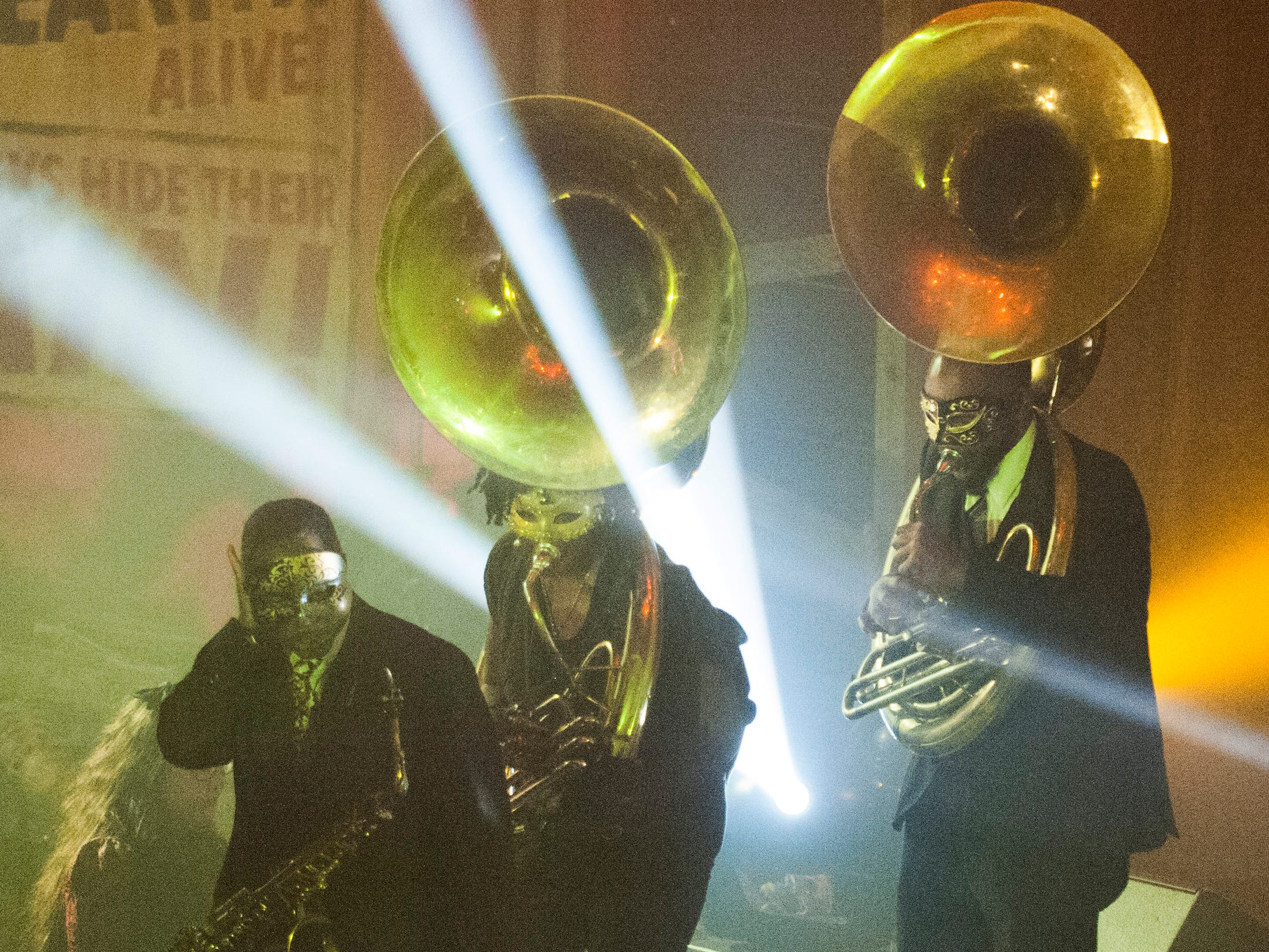 The Gabriel Brass Band performs on stage in the grand ballroom on the lower level of the Masonic Temple.
