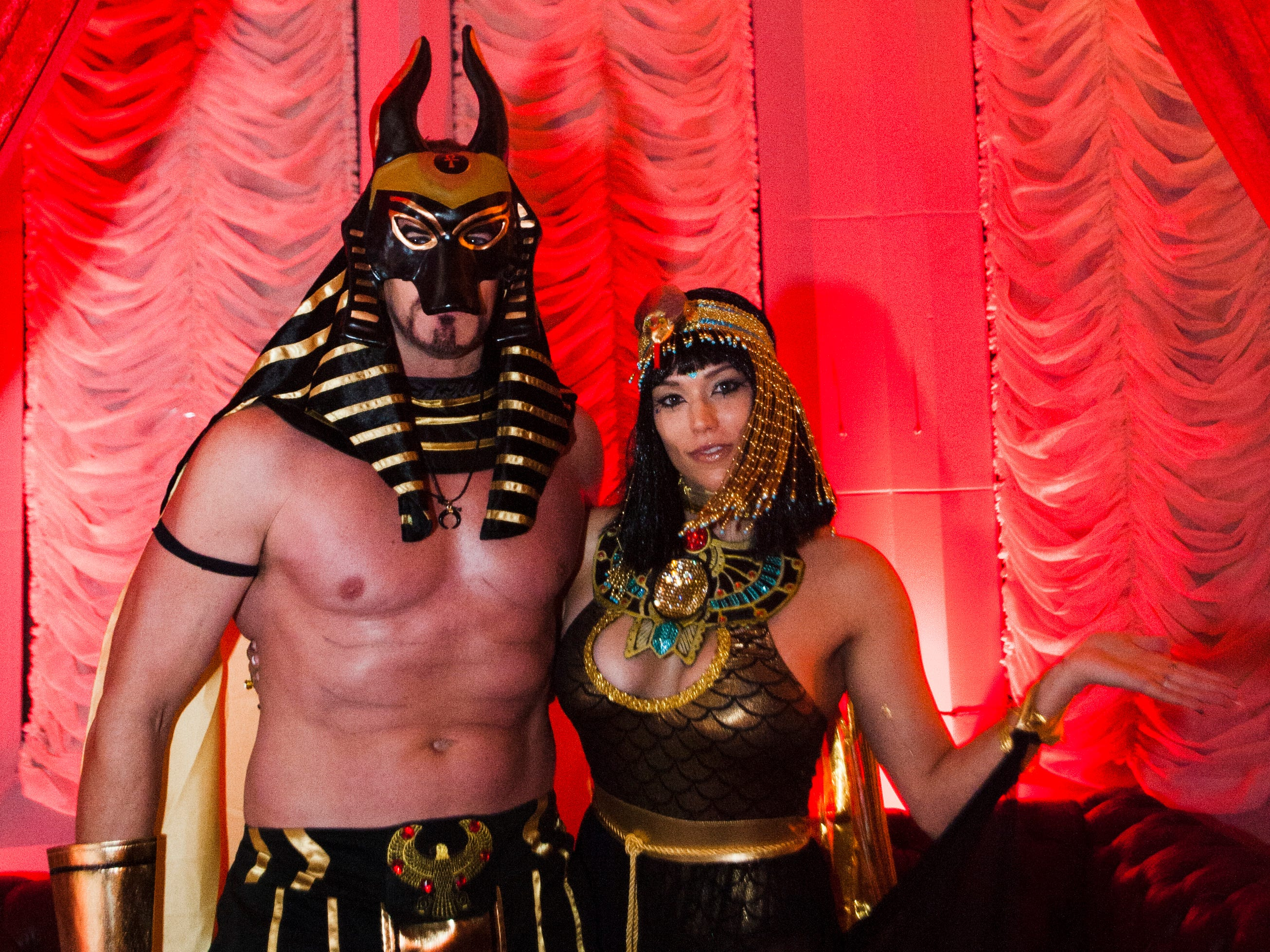 Ben Rathburn and Jen Gross of Dearborn Heights attend Theatre Bizarre as Egyptian gods.