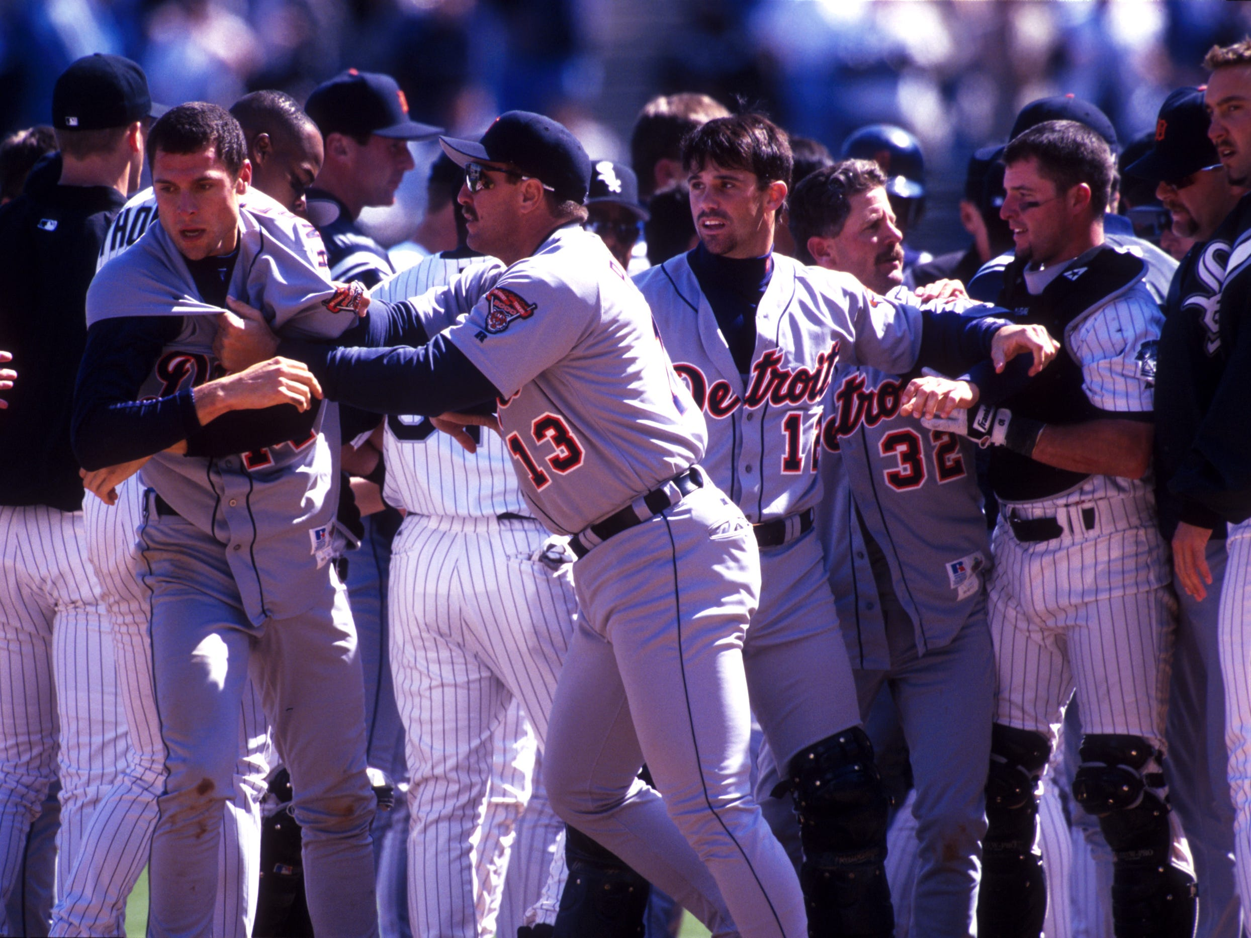 TIGERS-WHITE SOX: It's not that they've done a whole lot of battling in the standings (it seems when one is good, the other is bad, or they're both bad). But they've had some epic brawls over the years, none more memorable than 2000, when they went at it multiple times. It led to Robert Fick being showered with beer by fans, and loving it.