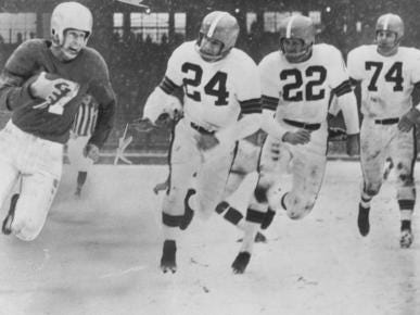 LIONS-BROWNS: Not only are these the only two NFL teams to go 0-16 in a season. Back when they were both good, at the same time, they were rivals. They met three consecutive years in the NFL championship game, from 195-54, with the Lions winning the first two, and the Browns winning the last one.