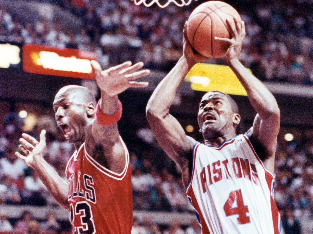 PISTONS-BULLS: The Pistons were the team of the late 1980s and early 1990s, before the Bulls took charge. They met four consecutive years in the playoffs from 1988-91, with the Pistons winning the first three series, and the Bulls the last one -- capped off by the Pistons' walk-off without shaking hands.