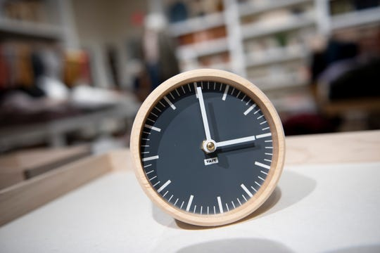 A desk clock made by Tait Design Co. for sale at the women's clothing store Madewell in Detroit.