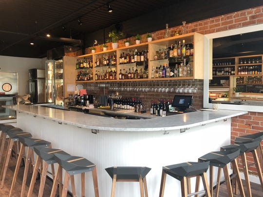The bar at Marrow in Detroit's West Village.