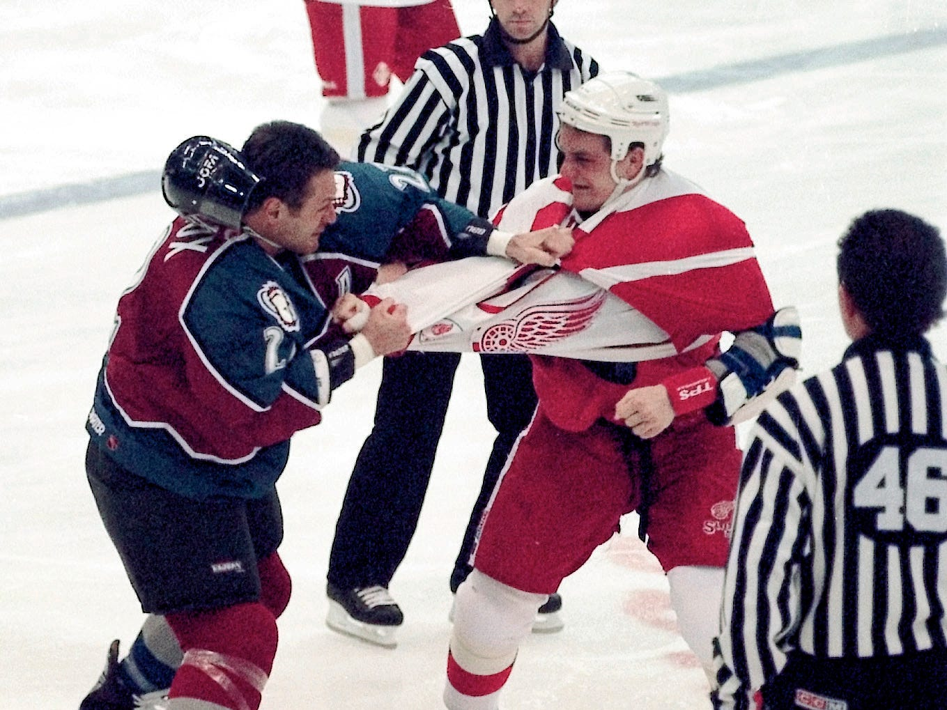 """RED WINGS-AVALANCHE: This one was big in the 1990s, particularly March 26, 1997, or """"Bloody Wednesday,"""" when Darren McCarty and Claude Lemieux went at it in epic fashion. The Wings got the last laugh, winning the Stanley Cup later that year."""