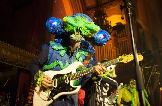 Detroit News photo of Krillin performing at Theatre Bizarre in 2018.