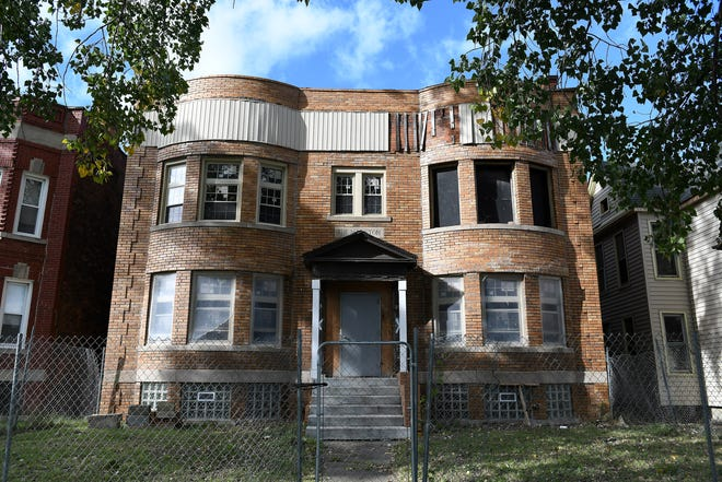 Fencing has been installed around the front of the property at 253 and 257 Marston Street in Detroit. The property was bought in 2016 by Garlin Gilchrist II from the Detroit Land Bank Authority.
