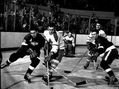 RED WINGS-MAPLE LEAFS: The two Original Sixers made for a great rivalry, particularly in the 1940s, when they met four times in the Stanley Cup Finals (the Maple Leafs won all four, even coming back from down 3-0 in 1942). From the 1930s-60s, they played for the championship seven times. The Wings one only the first meeting, in 1936.