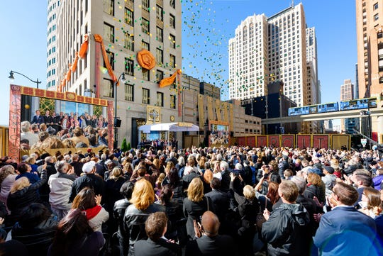 A private opening for 2,000 Scientology parishioners and guests was held Sunday in front of the building.
