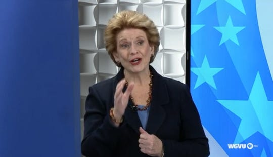 U.S. Senator Debbie Stabenow answers a question during a debate with  Republican challenger John James at Grand Valley State University on Sunday, October 14, 2018 (still frame from video)