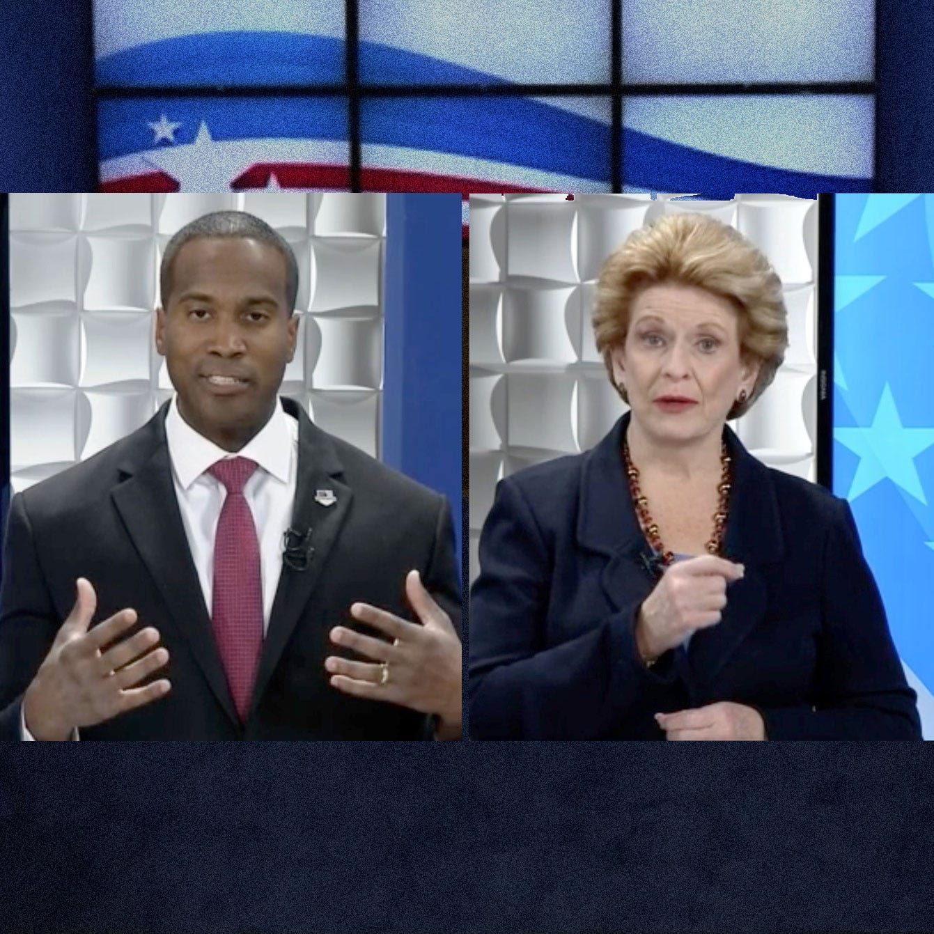 Stabenow, James spar in U.S. Senate campaign debate