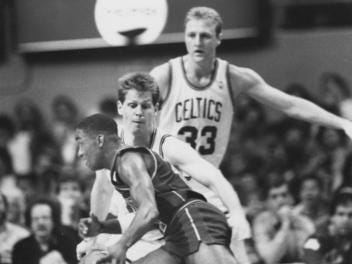 PISTONS-CELTICS: The Pistons have had their share of battles over the years, and the one with the Celtics was a great one from the mid-1980s through early 1990s, when they met five times in the playoffs. The Celtics won the first two, one of that legendary Larry Bird steal, while the Pistons won the last three in a changing-of-the-guard scenario.