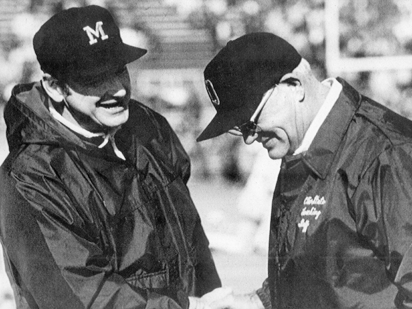 MICHIGAN-OHIO STATE: This is one of the top rivalries in all of sports, obviously. The ultimate turf war. Bo and Woody. And on and on. Michigan leads the all-time series, 58-49-6, though Ohio State has won the last six meetings, and 13 of the last 14.
