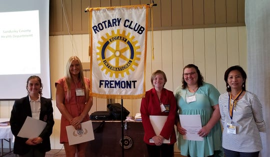 Fremont Rotary Students of the Month, from left, are Sarah Molyet, St. Joseph Central Catholic School; Anne Marie Moses, Fremont Ross High School; Sydney Zoller, Vanguard Sentinel Career Center;  Alyssa Ward Terra State Community College. At right is Angelica Rinehart, Fremont Rotary Club President.