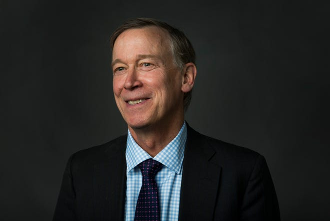 Colorado Governor John Hickenlooper poses for a portrait during a visit to the Coloradoan newsroom on Monday, October 15, 2018.