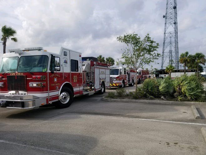Units from Cape Coral fire and other Southwest Florida fire departments, gathered at the State Fire College in Ocala before heading to the Florida Panhandle to help with recovery efforts after Hurricane Michael.