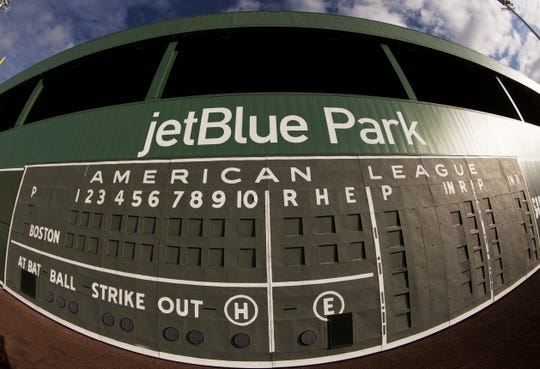 A file photo of the scoreboard at JetBlue Park.