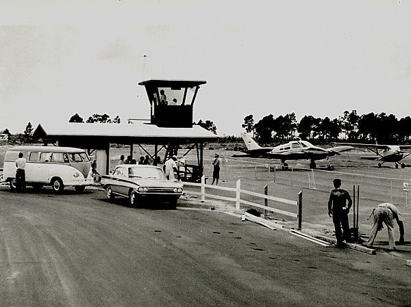 The Cape Coral Airport was alongside del Prado, between today's Everest Parkway and SE 21st Street.