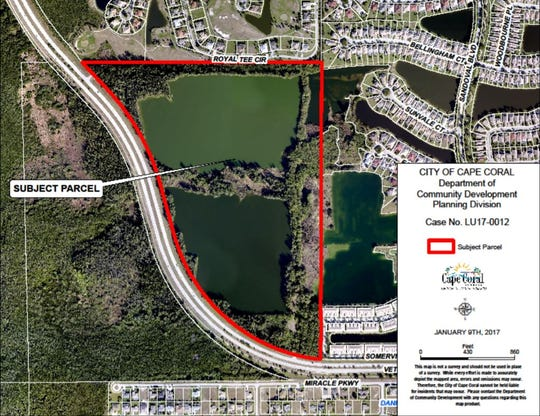 A screenshot from a city presentation shows the 85 acres north of Veterans Parkway and east of Surfside Boulevard that Cape Coral City Council discussed designating for multifamily residential development.