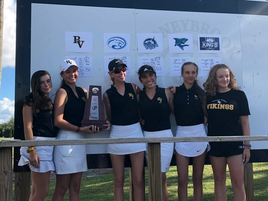 The Bishop Verot High School girls golf team shot 350 to win the Class A-District 17 championship on Monday at Stoneybrook Golf Club.