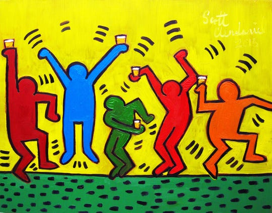 "Artist Scott Clendaniel's Keith Haring-inspired publicity image for Alliance for the Arts' ""Arts on Tap"""