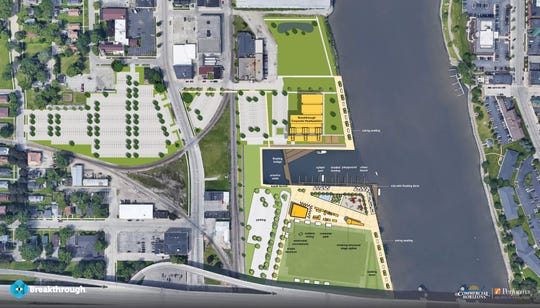 An overhead view of the Shipyard area places Breakthrough's new headquarters building to the north of the inlet and proposed urban beach and recreation areas.