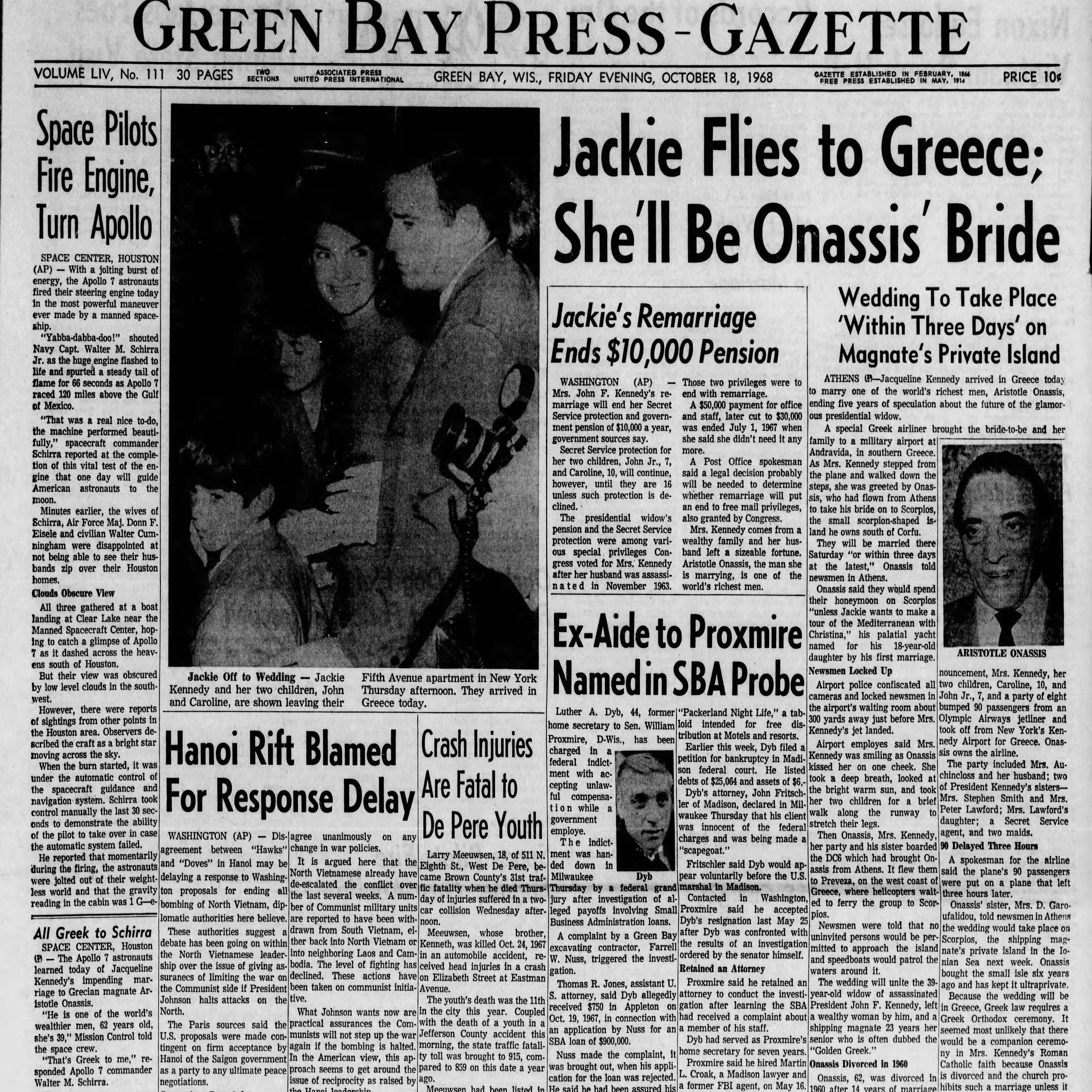 Green Bay Press-Gazette today in history: Oct. 18