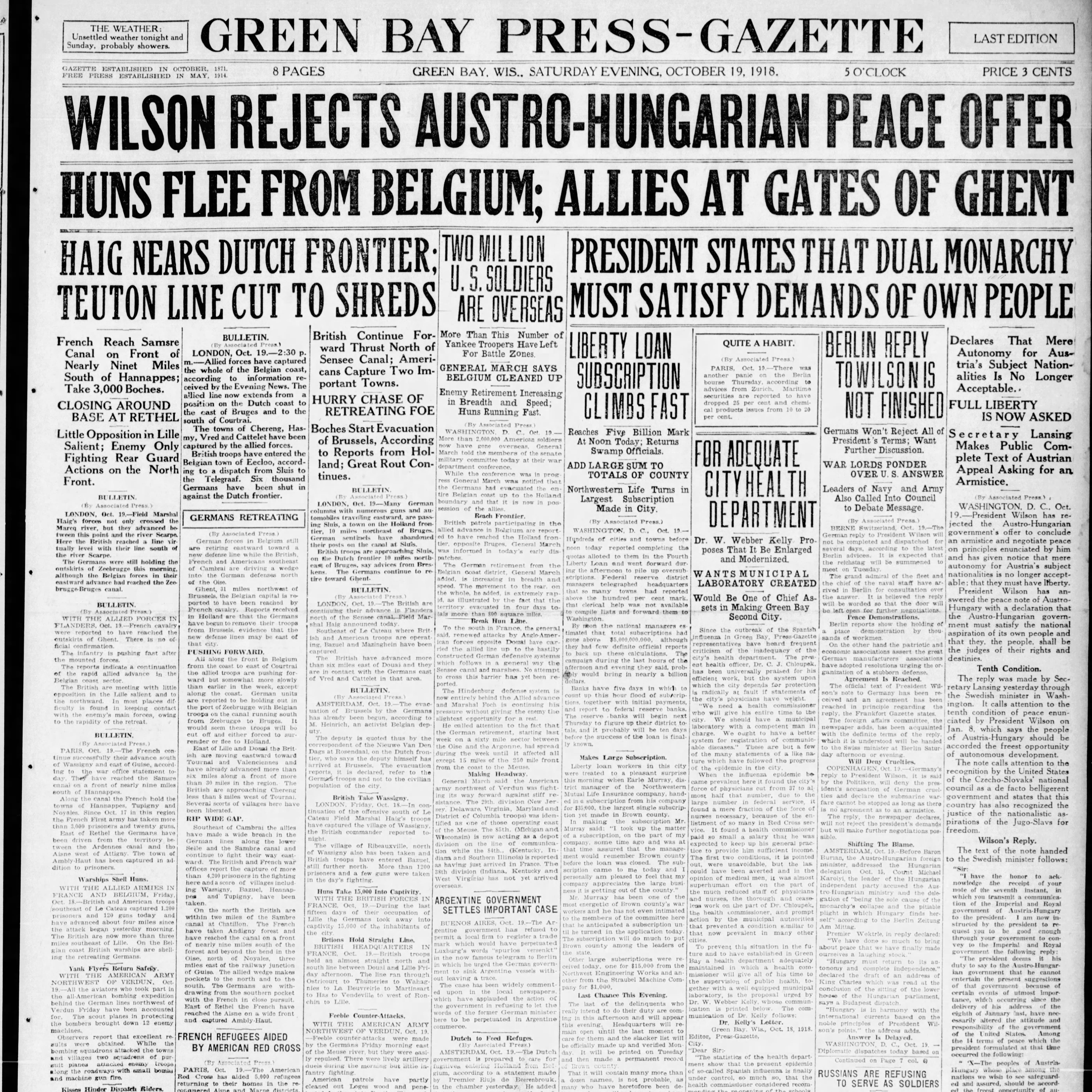 Green Bay Press-Gazette today in history: Oct. 19