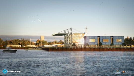 A rendering of Breakthrough's new headquarters building from the Fox River. The Green Bay-based company helps shippers cut shipping and logistics costs.