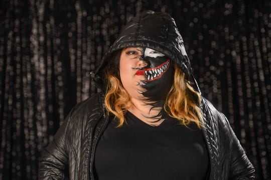 Pacific Daily News accounting manager Sierra Castro, fully transformed as the Venom accounting manager, Oct. 9, 2018.