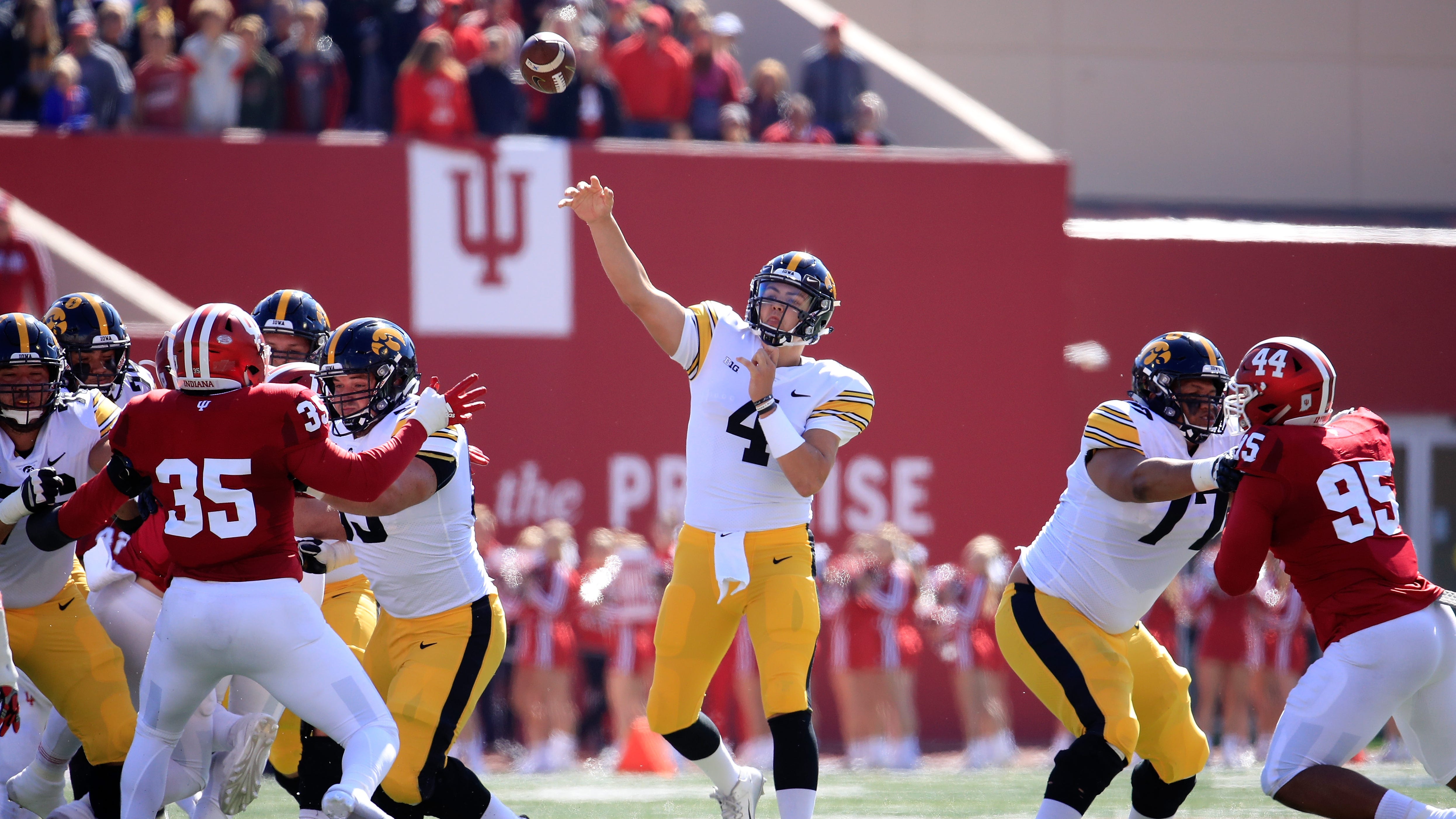 Nate Stanley was more than willing to air it out in Bloomington, Indiana. The Iowa junior quarterback attempted 12 deep shots among his 33 attempts, and finished with 320 yards passing.