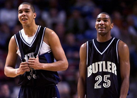 Butler's Joel Cornette (left) and LaVall Jordan share a smile near the end of the destruction of Wake Forest.  Butler won 79-63 in NCAA first Round action at Kansas City in 2001.