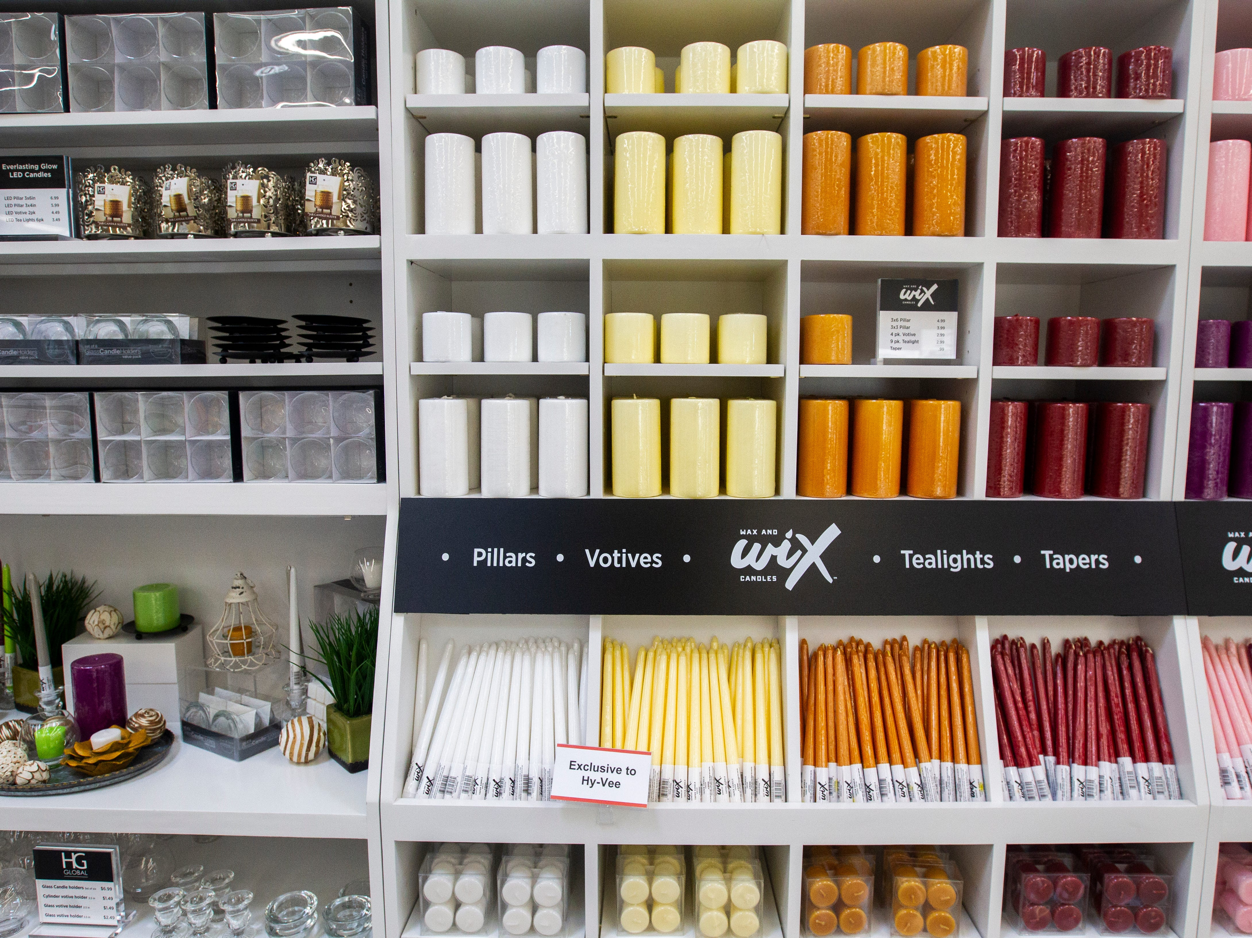 Wax candles are seen at a new Hy-Vee on Monday, Oct. 15, 2018, along Crosspark Road in Coralville, Iowa.