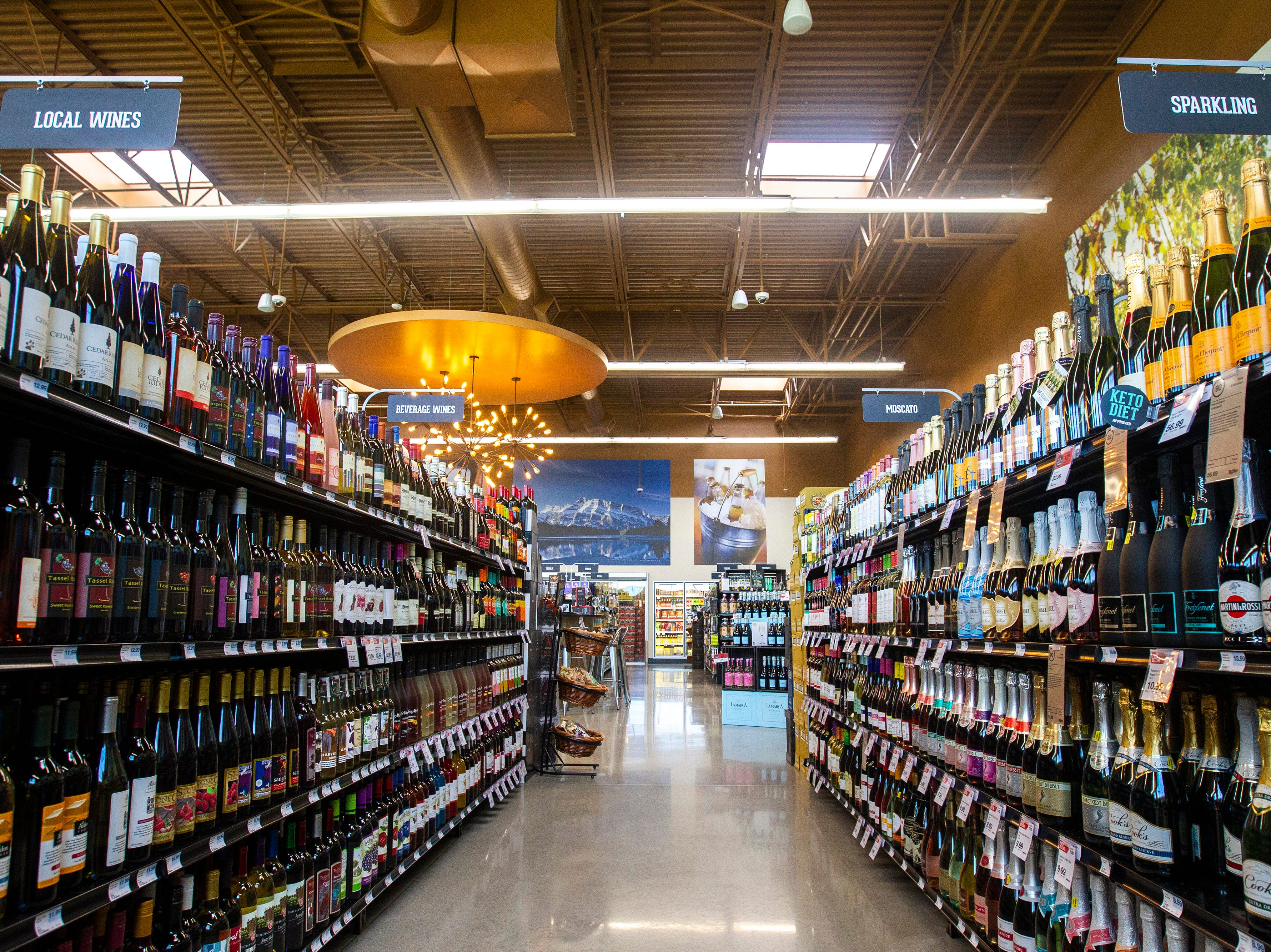 An aisle in the wine and spirits section is seen at a new Hy-Vee on Monday, Oct. 15, 2018, along Crosspark Road in Coralville, Iowa.