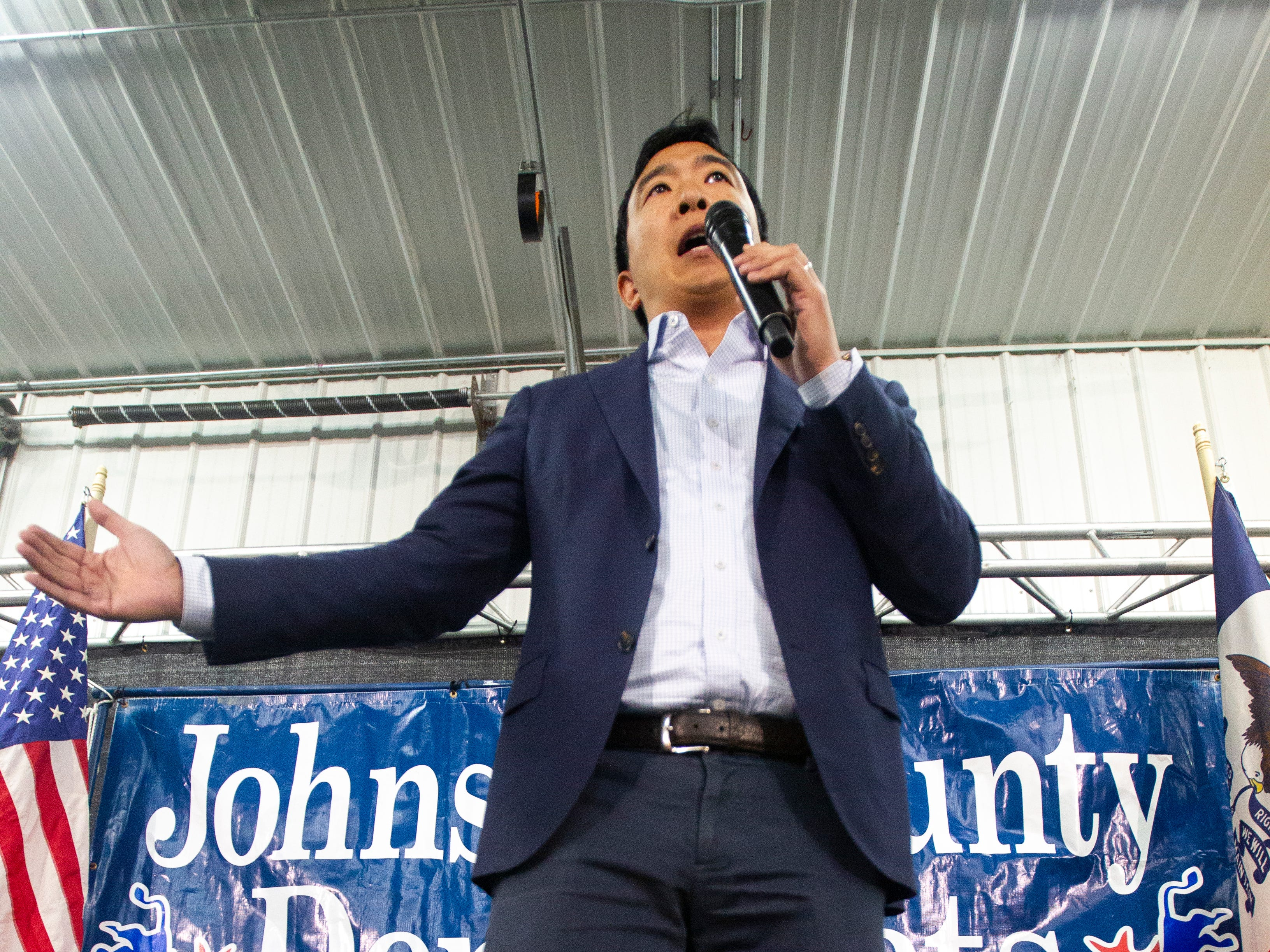 Andrew Yang, 2020 Democratic presidential candidate from Schenectady, New York, speaks during the Johnson County Democrats annual barbecue fundraiser on Sunday, Oct. 14, 2018, inside Building C at the Johnson County Fairgrounds in Iowa City.