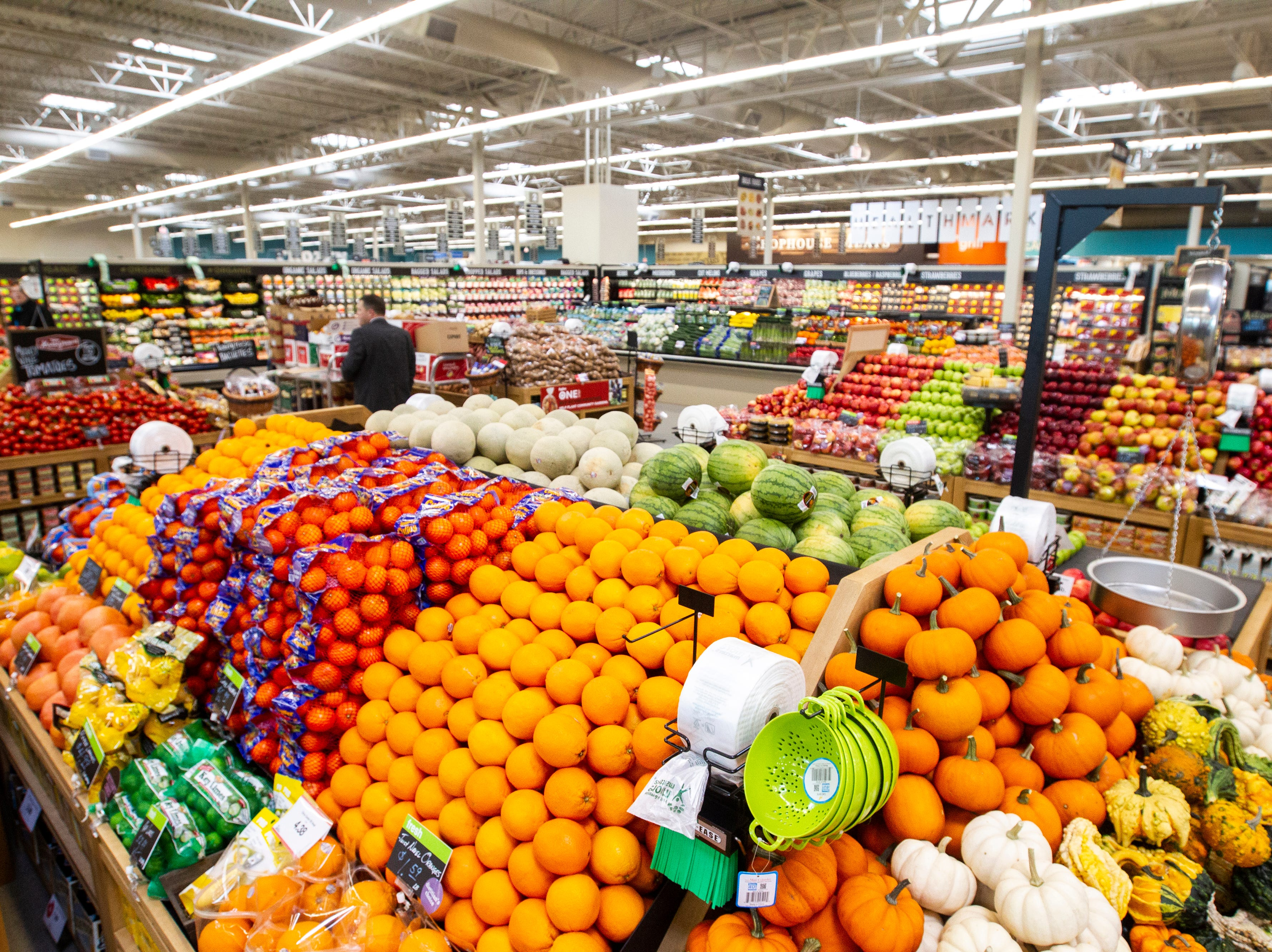 Fruits and vegetables are displayed at a new Hy-Vee on Monday, Oct. 15, 2018, along Crosspark Road in Coralville, Iowa.