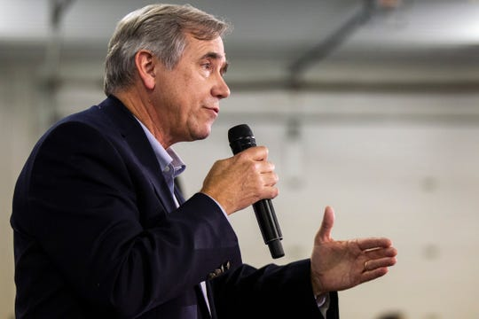 Sen. Jeff Merkley, D-Oregon, speaks during the Johnson County Democrats annual barbecue fundraiser on Sunday, Oct. 14, 2018, inside Building C at the Johnson County Fairgrounds in Iowa City.