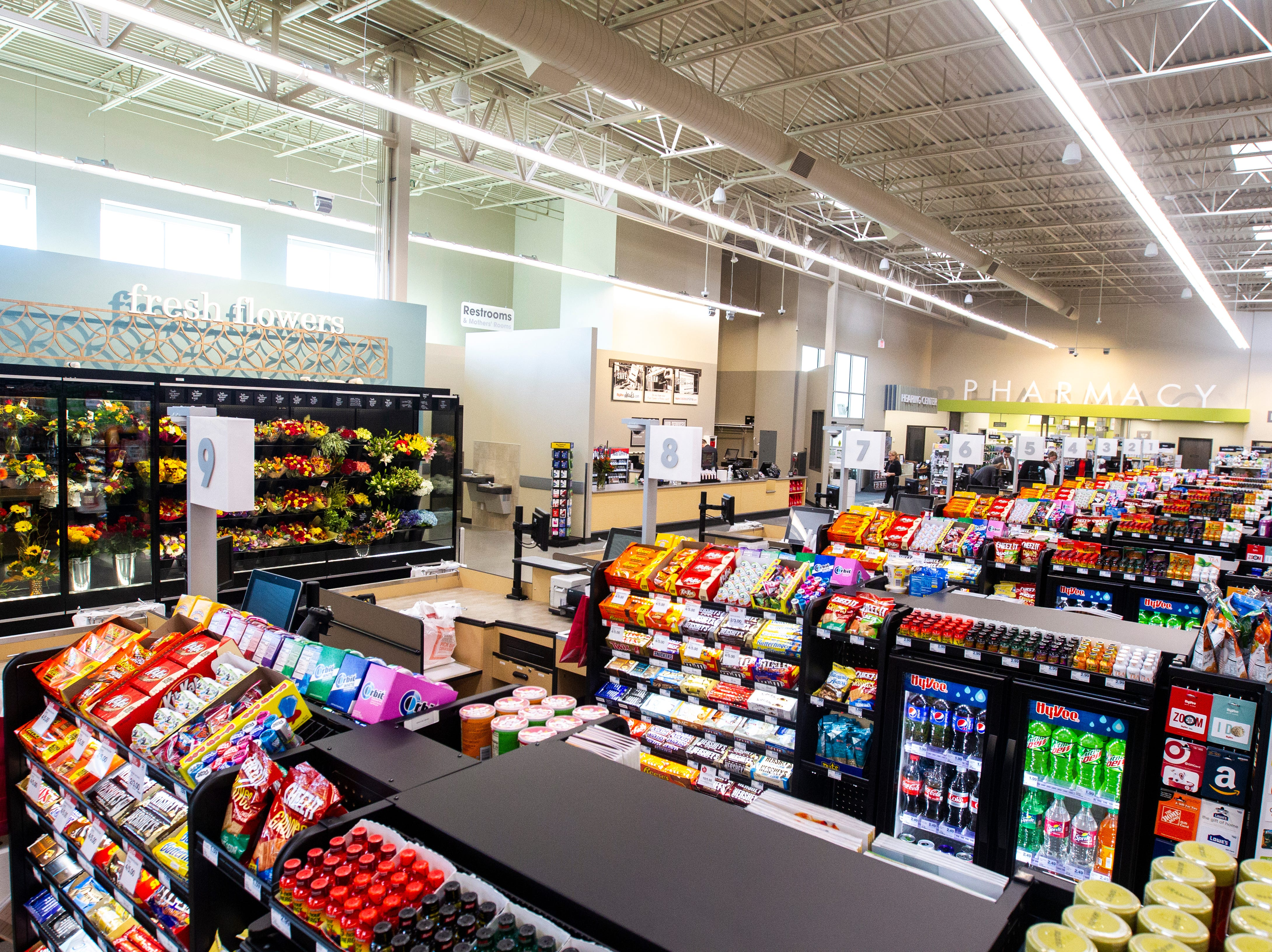 Checkout aisles at a new Hy-Vee on Monday, Oct. 15, 2018, along Crosspark Road in Coralville, Iowa.