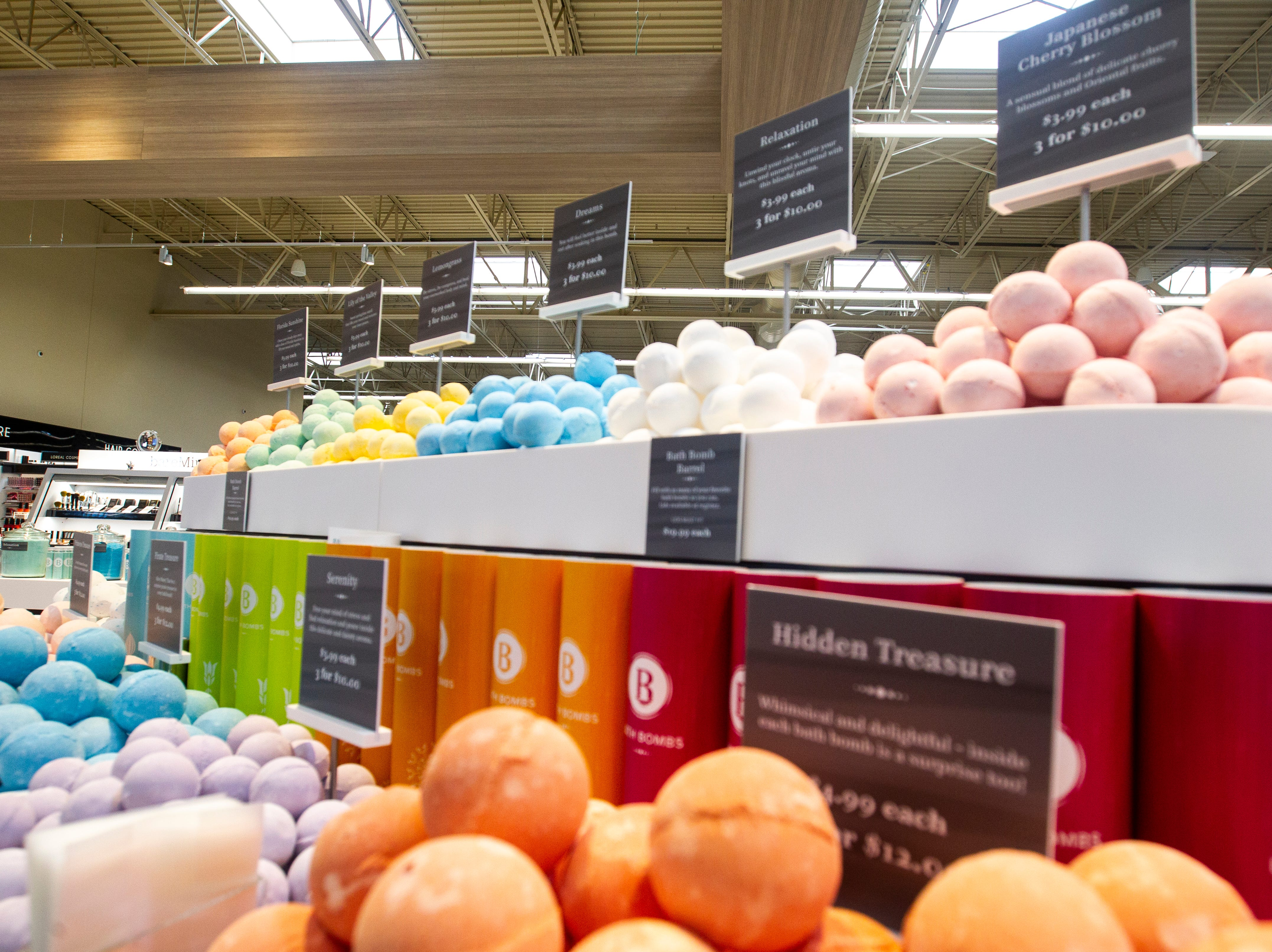 Soaps are seen at a new Hy-Vee on Monday, Oct. 15, 2018, along Crosspark Road in Coralville, Iowa.