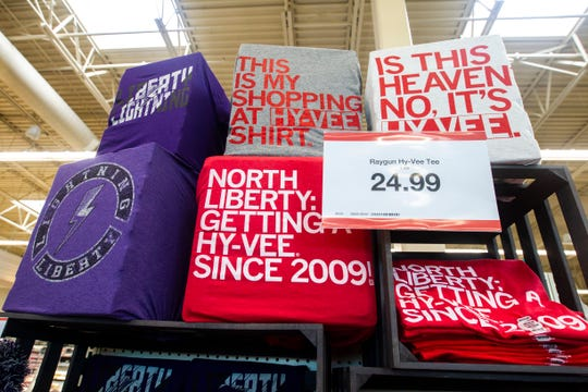 Raygun t-shirts are seen at a new Hy-Vee on Monday, Oct. 15, 2018, along Crosspark Road in Coralville, Iowa.