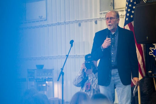 Rep. Dave Loebsack, D-Iowa, speaks during the Johnson County Democrats annual barbecue fundraiser on Sunday, Oct. 14, 2018, inside Building C at the Johnson County Fairgrounds in Iowa City.