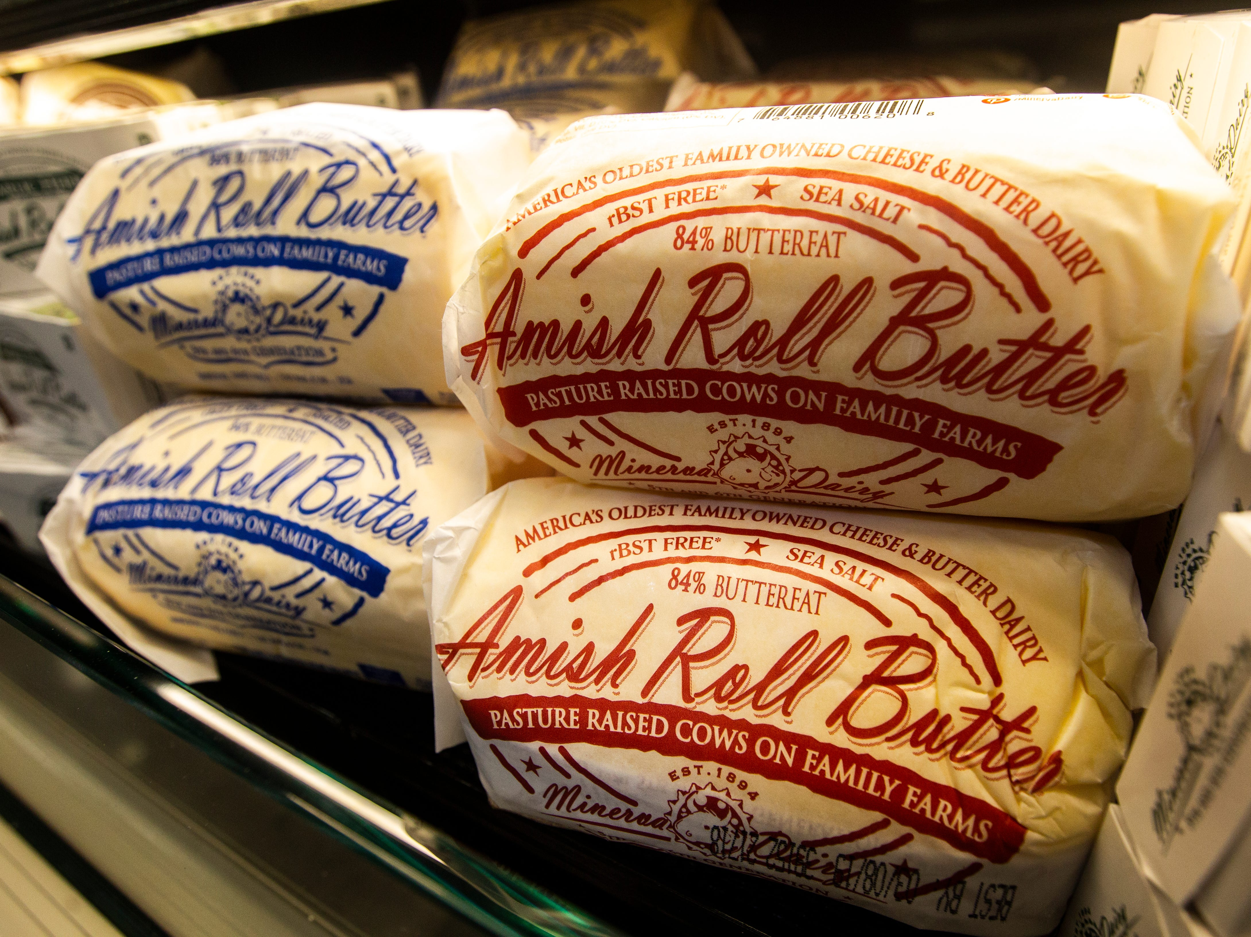 Amish roll butter is seen at a new Hy-Vee on Monday, Oct. 15, 2018, along Crosspark Road in Coralville, Iowa.