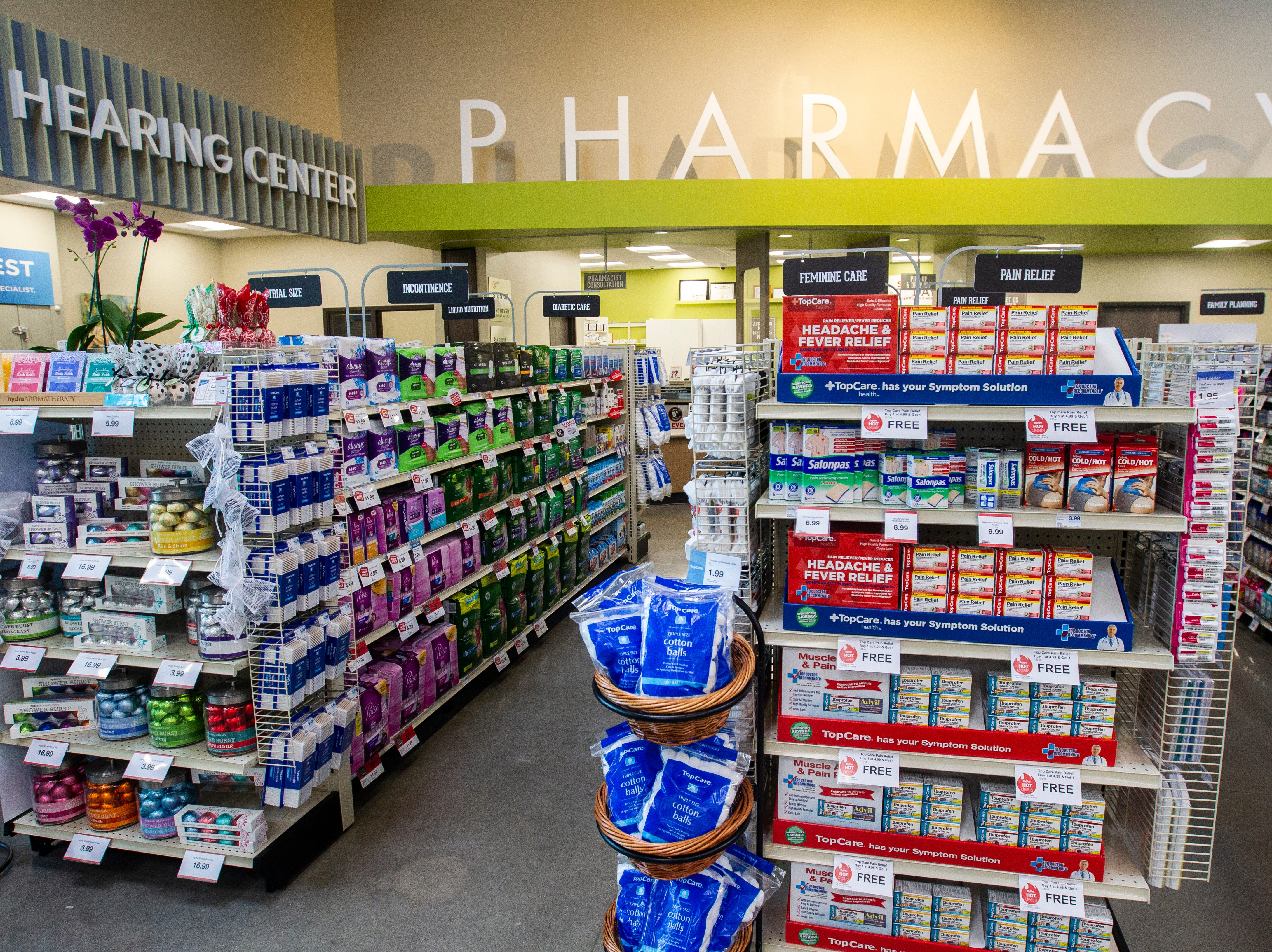 Pharmacy and hearing center departments are seen inside a new Hy-Vee on Monday, Oct. 15, 2018, along Crosspark Road in Coralville, Iowa.