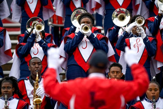 Lane College band members perform fight songs at the end of the game against Allen University at T.R. White Sportsplex in Jackson, Tenn., on Oct. 13, 2018.