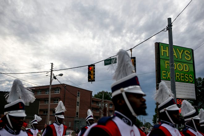 Lane College marching band members head down Hays Avenue at T.R. White Sportsplex in Jackson, Tenn., on Oct. 13, 2018.